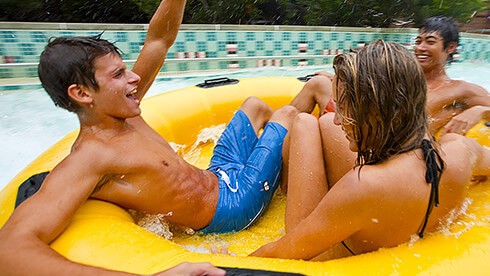 Cool off in the summer at our theme park and water park