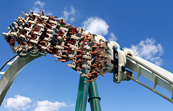 People riding on Alpengeist roller coaster at Busch Gardens Williamsburg