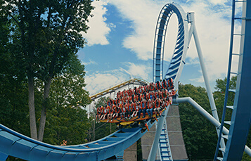 People riding Griffon roller coaster at Busch Gardens Williamsburg
