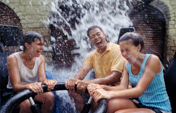 Women on Roman Rapids water ride at Busch Gardens Williamsburg