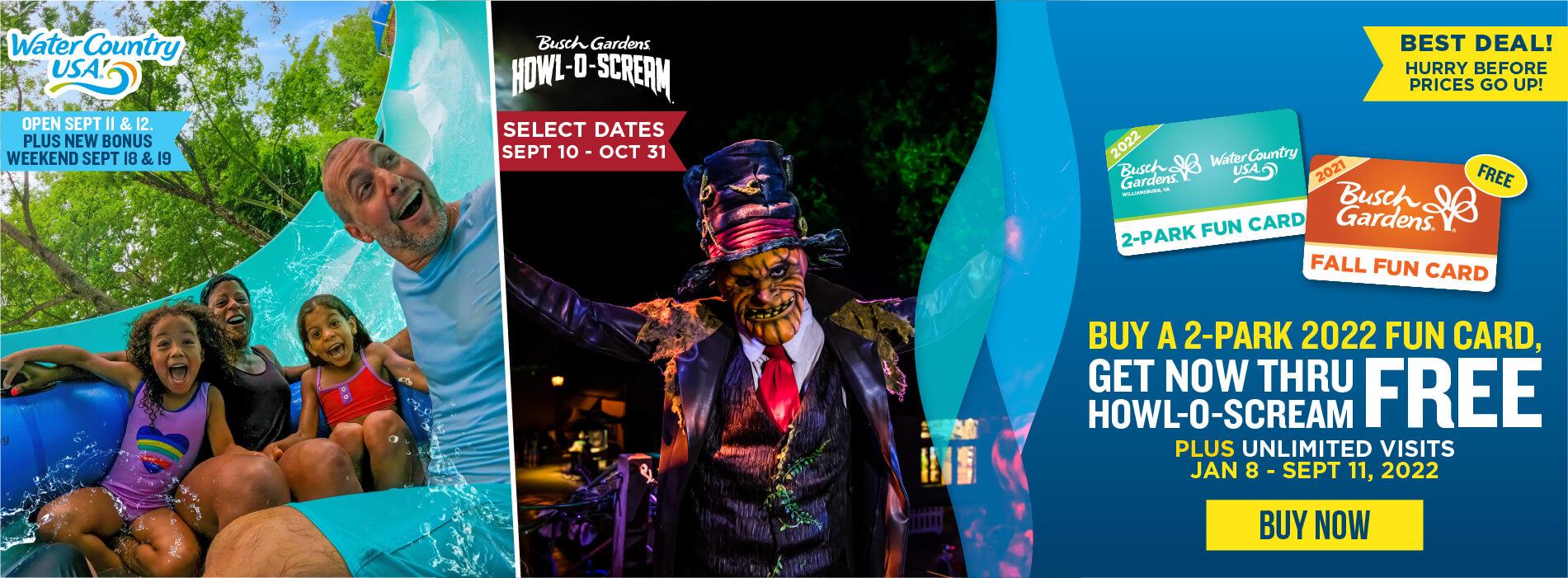 Buy a 2-Park 2022 Fun Card, Get Now Through Howl-O-Scream FREE