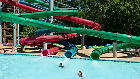 Jammin' Jukebox tube slides in Rock 'n' Roll Island at Water Country USA