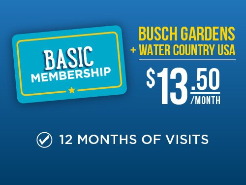 Busch Gardens & Water Country USA 2-Park Basic Membership