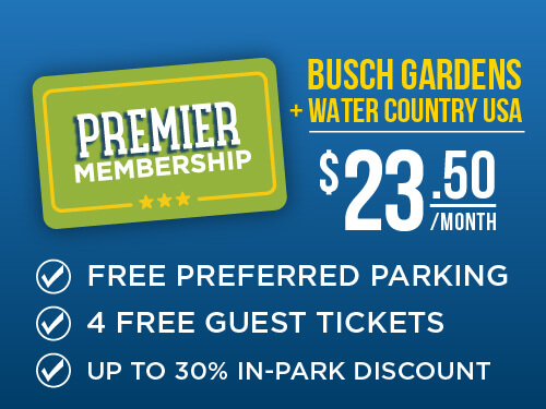 Busch Gardens & Water Country USA 2-Park Premier Membership