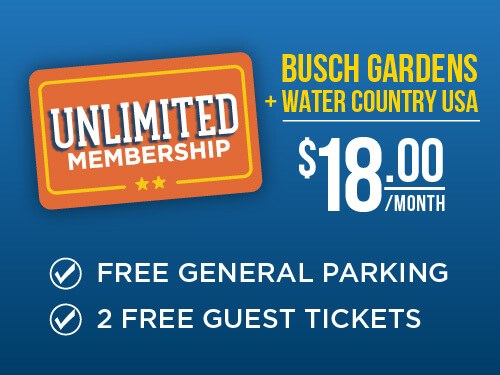 Busch Gardens & Water Country USA 2-Park Unlimited Membership
