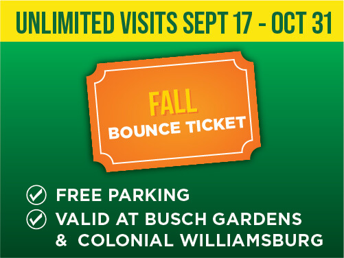 Busch Gardens Williamsburg and Colonial Williamsburg Fall Bounce Ticket