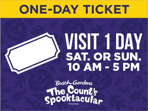 Busch Gardens Williamsburg Spooktacular Kid's Ticket