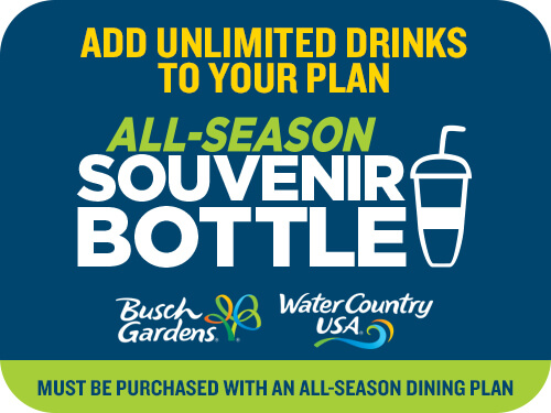 Busch Gardens Williamsburg & Water Country USA 2-Park All-Season Souvenir Bottle