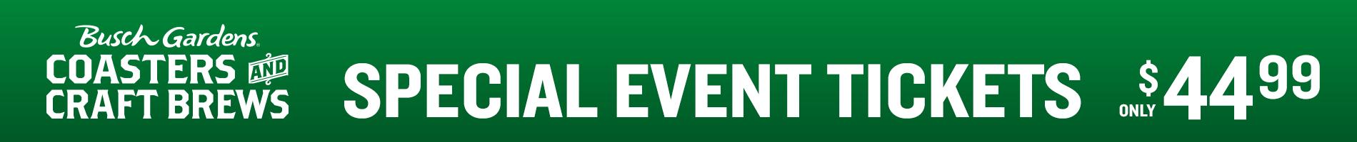 Busch Gardens Coasters and Craft Brews Special Event Tickets